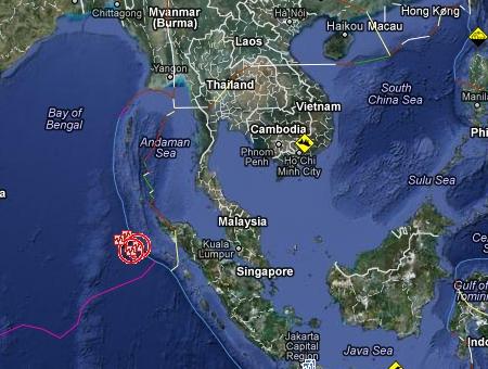 แผ่นดินไหวในทะเล8.9R.บริเวณตอนเหนือของเกาะสุมาตรา ความลึก 10กม.