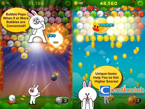 LINE Bubble! iOS และ Android เกมยิงลูกโป่งน่ารักดีดาวน์โหลดฟรี