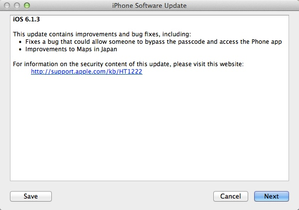Apple iOS 6.1.3 Update