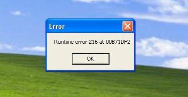 Runtime error 216 at