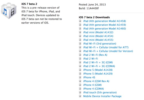 iOS 7 beta 2 ปล่อยดาวน์โหลดสำหรับนักพัฒนา รองรับ iPad และ iPad mini