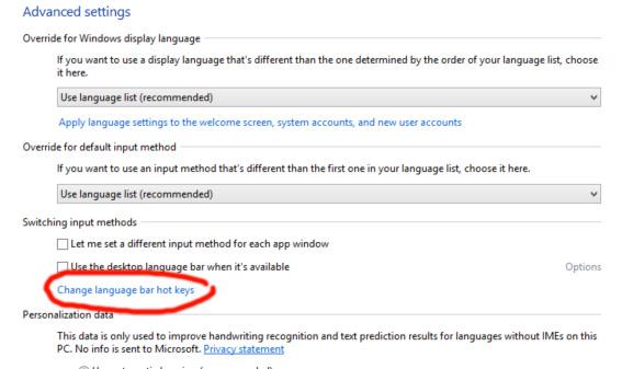 วิธีตั้งค่าปุ่มเปลี่ยนภาษา Windows 8